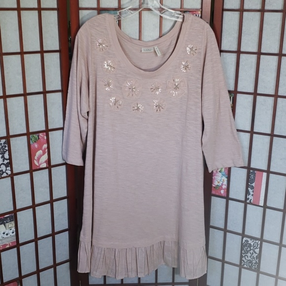 LOGO by Lori Goldstein Dresses & Skirts - LOGO old pink 3/4 sleeves tunic with ruffle dress